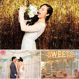 Wholesale 2pcs Wedding Party Backdrop Tinsel Curtain m m Hanging Stripes Pub House Door Curtain Stage Background wd504L2M