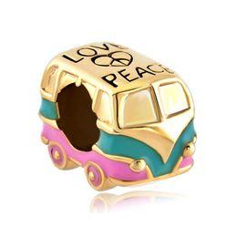 Fashion women jewelry metal loose charms peace love bus car European spacer bead charm fits Pandora bracelet