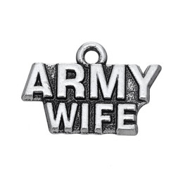 Free shipping New Fashion Easy to diy 20Pcs Letter Army Wife Charm Accessories Charm Jewelry For Making jewelry making fit for necklace or b