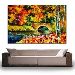 Palette Knife Oil Painting Europe Style Bridge Construction Landscape Painting Canvas Prints Mural Art for Home Hotel Office Wall Decor