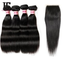 Wholesale Grade A Bella Peruvian Straight Hair with Lace Closure Bundles With Closure Human Hair Weave With Closure