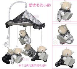 Wholesale Baby Reading Bear music box bed hanged toys Baby Rattles Musical mobile Plush dolls for infants Best Baby Toys