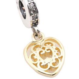 Corazón del oro de la pulsera 925 en Línea-Auténtica 925 Sterling Silver Bead encanto Charms Colgante de oro colgante cuelga Pandora Pandora Pulsera Brazalete DIY Joyería