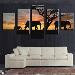 Wholesale 5 Piece elephants walking africa wall arts Modern Home Wall Decor Canvas Picture Art HD Print Wall Painting Canvas Arts Unframe