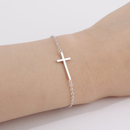 30PCS- B009 Gold Silver Horizontal Sideways Cross Bracelet Simple Tiny Small Religious Cross Bracelet Cool Faith Christian Cross Bracelets