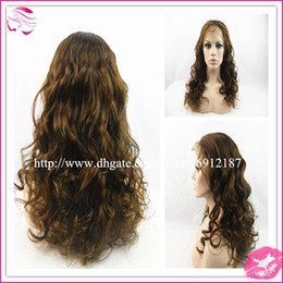 Wholesale Color Medium Brown Density Wavy Full Lace Wigs Virgin Brazilian Remy Human Hair Wigs Natural Hairline