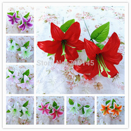 Wholesale 7Colors Artificial Silk Single Tiger Lily Flower Lifelike Water lily Flower DIY Wedding Wall Party Home Decor