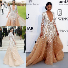 Wholesale Zuhair Murad Champagne Tulle Pageant Celebrity Dresses with Long Seeves Sexy Deep V neck Lace Applique Winter Formal Evening Prom Gowns