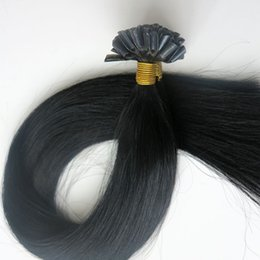 100g 1Set 100Strands Nail U Tip Pre-bonded hair extensions 18 20 22 24inch #1 Jet Black Brazilian Indian Human hair