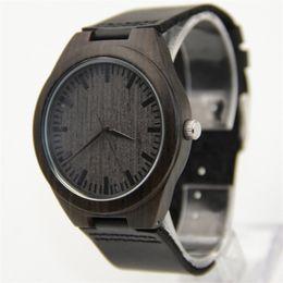 Wholesale Hot Marketing Mens Fashion Leather Bamboo Wooden Watches Analog Quartz Wrist Watch gift Aug25
