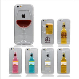 Wholesale-New Fashion Luxury Red Wine Cup Beer Bottle Cocktail Liquid Transparent Case Cover For Apple iPhone 4 4s phone back cover