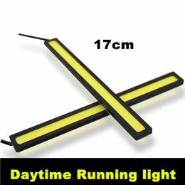 Wholesale 2pcs W Car Daytime Running Led COB Daylight Kit Super Bright V Lamp Black Body Power DRL
