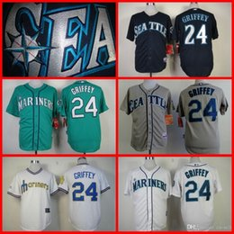Wholesale 2015 New Hot sale Seattle Mariners Authentic Jerseys Ken Griffey jr White Blue Gray Green throwback Baseball Jersey shirt S XL