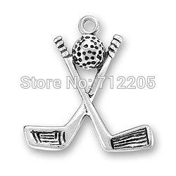Wholesale cheap zinc alloy a antique silver plated golf ball and clubs charms sports series jewelry