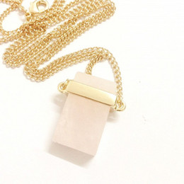 2015 Fashion Women Jewelry Gold Wrapped Pink Crystal Chunky Charm Necklace Gold Chains Long Pendant Necklace Accessories