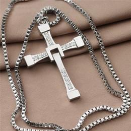 Croix d'argent à vendre-12 pcs Charm unisexe hommes argent plaqué croix cristal collier pendentif long bijoux de chaîne Livraison gratuite