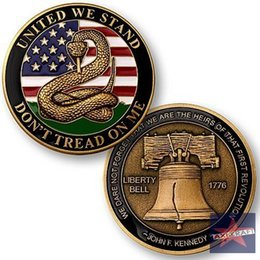 Wholesale Don t Tread on Me Liberty Bell Challenge Coin American Army USA Army Navy coin Gold plated Souvenir Commemorative Coin OZ