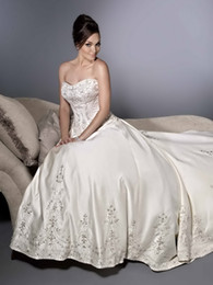 Wholesale Silver Satin Wedding Reception - High Quality Sweetheart A-Line Wedding Dresses Strapless Crystals Embroidery Satin Chapel Train Reception Bridal Gowns Custom Made A:139
