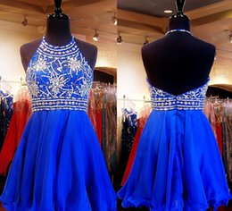 Wholesale Backless Graduation Dresses Beaded Collar Royal Blue Fashion New Short Dress Prom Cocktail Gown Formal Homecoming Gowns Vestidos Party