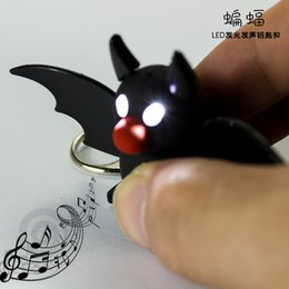 Wholesale New Bat Keychain Kids Flashlight Torch Sound Toy Cartoon Keychain Promotion Novelty Gift Lover Children Christmas Gift
