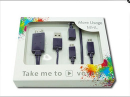 Wholesale Universal Micro USB MHL to HDMI cable media HDTV Adapter for Samsung S4 s3 i9300 S2 LG converter retaill box