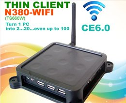 Wholesale N380 with wifi Black Nine Dots WIFI MINI PC CE Thin Client Flash XP Server Windows or Linux supported