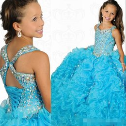 Wholesale 2015 Most Beautiful Square A line Ball Gowns Organza Beaded Crystal Girls Pageant Dresses Ritzee Formal Kids Party Prom Gowns custom made