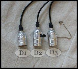 Wholesale Vintage Pendant Light Bulbs Holder Wire Cable E26 E27 Edison Bulb Hanging lamp V V V V V silver bulb sockets base Minimalist
