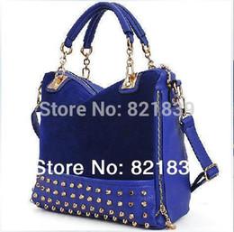 Wholesale-New 2015 women handbag work bag casual women leather handbags scrub rivet women shoulder bag women messenger bags totes bags