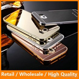 Wholesale Gold Plating Mirror Acrylic Case Aluminun Metal Cover for Samsung Galass S6 S6edge Anti knock Shockproof Phone Bags