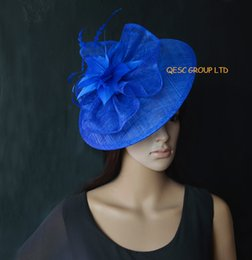 Royal blue Big Sinamay fascinator for Kentucky derby Wedding Races.