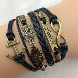Wholesale Amazing New Vintage Antique Bronze Anchor Rudder Owl Charms Leather Rope Bracelet Wristband Hot