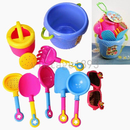 Wholesale 2015 New Arrival Baby Kids Sandy beach Toy Set Dredging tool Beach Bucket Sunglass Baby playing with sand water toys