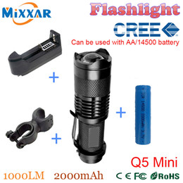 Wholesale ZK30 LM LED Flashlight CREE Q5 Mini Bicycle Light LED Bike Light Front Torch High Power Light Waterproof Holder Battery Charger