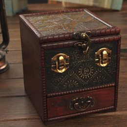 Wholesale Antique box Europe restoring ancient of creative jewelry box Multilayer drawers with a mirror chestcrafts home decor