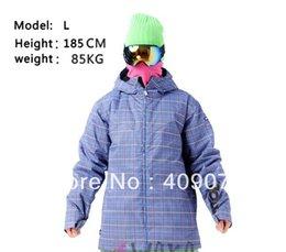 2016 единая панель Оптовая Бесплатная доставка + Европейский Классический + светло-синий Человек Сноуборд куртки для одиночных / двойных панелей + S-XL + ветра / водонепроницаемый бюджет единая панель