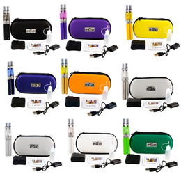 Wholesale Double eGo CE4 Starter Kit E Cigarette mAh eGo t battery ml CE4 Clearomizer E Cig Set Zipper Case Kit Colors IN STOCK