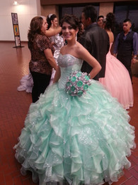 Mint Green Amazing Quinceanera Dresses Sweetheart Back Lace Up ball gown Organza Sweet 16 Dress Prom Gowns 2015 Vestidos de Festa