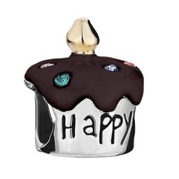 color enamel Gold Plating Happy Birthday Crystal Birthday Cake European Charm Bead Fit Pandora Charm Bracelet