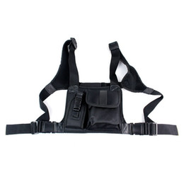 Wholesale Walkie Talkie Chest Pocket Pack Backpack Handset Radio Accessory Holder Bag Two Way Radios Carry Case Black J6218A