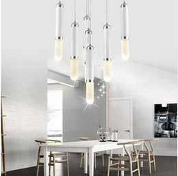 Wholesale 7head contracted and contemporary acrylic aluminium aeolian bells LGP pendant light dining room lighting fashion indoor pendant lights