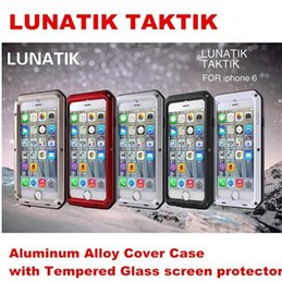 Wholesale For phone Plus Water Dirt Shock Proof Phone Aluminum Case with Touch ID Function Metal Cover Tempered Glass Screen iphone6 case