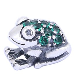100% 925 Sterling Silver Charms 925 ALE Rhinestone Frog European Beads for Pandora Bracelets Animal Silver DIY Charms