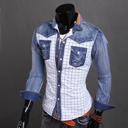 Wholesale- New Arrival Fashion Denim Shirts Patchwork Plaid Shirts For Men Long Sleeve Men Shirt Jeans Shirt Men Clothes Chemise Homme