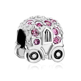 Jackolantern Halloween Pumpkin Car With Pink October Births Crystal Rhinestone Charm Cinderella Carriage Fit Pandora Bracelet