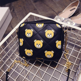 Wholesale-2015 new arrival black bear head printing messenger bags PU leather shoulder crossbody bags for women small sling bag