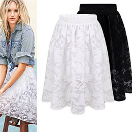 Solid Elegant Lady Floral Lace Embroidery Organza Fahion Club Party Cocktail Casual Bubble A-line Midi Long Skirts Women