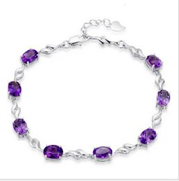 Wholesale Hot style selling sterling silver female natural amethyst han edition Europe and the United States first big necklace bracelet adorn art