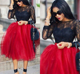 Fluffy Red Tulle Skirts For Women Fixed Satin Waist Tea Length Ball Gown Tutu Short Party Skirts African Black Girls Maxi Skirts