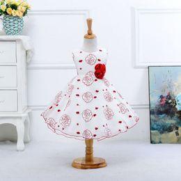 2016 New Korean Girls Stamp Sleeveless Dress Tutu Princess Dress Girl Rose Princess Gown Flower Girls Dresses for Weddings